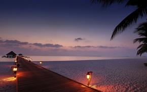 Picture sand, sea, beach, the sky, clouds, light, lights, Palma, the evening, lantern, house, the bridge, …