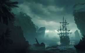 Picture sea, the sky, water, clouds, fog, shore, ship, island, art