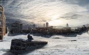 Wallpaper the sun, winter, cold, snow, snowfall, bus, the city