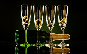 Picture reflection, bottle, champagne, glasses, 2014
