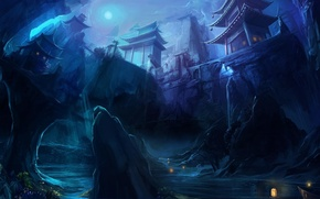 Picture bridge, river, rocks, boat, Night, The moon, lights, temple, gorge