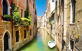 Picture bridge, boat, home, channel, Venice