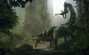Picture machine, the city, weapons, robot, art, Scorpio, ruins, andreewallin