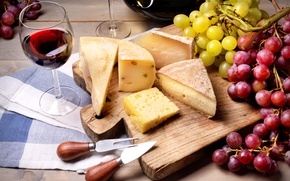 Picture wine, glass, cheese, grapes, Board, wine, grapes, cheese