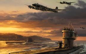 Picture war, art, airplanes, painting, drawing, ww2, junker ju 88, germans bomber, german u-boat