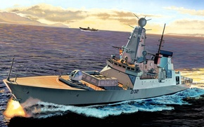 Picture sea, shore, figure, ship, room, combat, squadron, destroyer, side, D32. The Royal Navy, «HMS Daring»