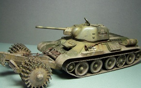 Picture toy, tank, T-34, average, model, period, The great Patriotic war