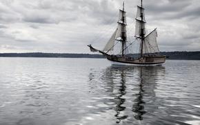 Picture water, calm, ship, horizon, privacy