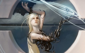Wallpaper girl, magic, technology, Magic The Gathering, digital painting, the appearance