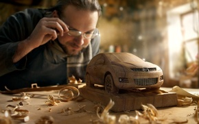 Wallpaper machine, macro, tree, people, master, wooden, workshop, mazda, chips