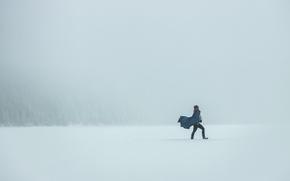 Picture winter, man, walking, snowing
