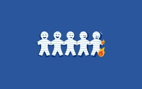 Picture paper, fire, men, horror