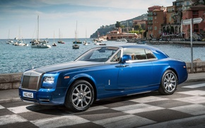 Picture the sky, water, blue, background, coupe, yachts, Rolls-Royce, Phantom, promenade, Coupe, the front, Phantom, Rolls-Royce, …