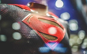 Picture light, red, superman, emblem, yellow, blue, man, hero, costume, steel