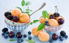 Picture dishes, blueberries, bowls, spoon, apricots, blueberries, leaves, berries, still life, fruit, Anna Verdina, cherry, BlackBerry