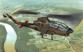 Picture war, art, helicopter, painting, Bell AH-1 Cobra