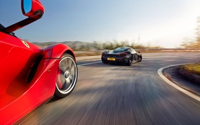 Picture McLaren, Ferrari, Red, Sky, Power, Speed, Black, Sun, Supercars, Road, LaFerrari, Rear, Lead, Moutian