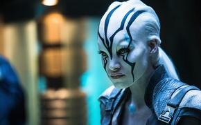 Picture cinema, ufo, wallpaper, girl, Star Trek, woman, man, movie, planet, blonde, film, warrior, uniform, pale ...