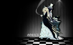 Picture table, two, long hair, cylinder, gosick, victorica de blois, chess square