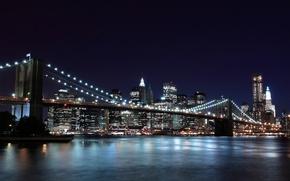 Wallpaper night, the city, lights, new York, new york, Brooklyn bridge, brooklyn bridge