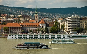 Picture river, building, panorama, promenade, Hungary, Hungary, Budapest, The Danube, Budapest, Danube River, ships