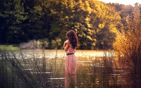 Picture autumn, girl, river, dress, in the water
