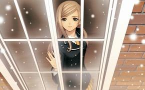 Picture winter, snow, anime, window. girl