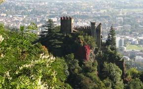 Wallpaper trees, the city, castle, rocks, view, Italy, panorama, tower, Tyrol, Trentino-Alto Adige
