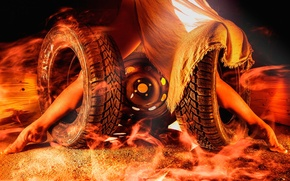 Wallpaper fire, wheel, feet, tires