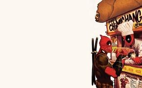 Picture red, cook, Deadpool, Deadpool, katana, comics, MARVEL, Wade Wilson, chimichanga, chimichanga