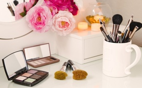Picture flowers, makeup, mirror, shadows, brush, cosmetics