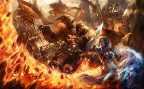 Wallpaper wow, axe, magic, MAG, orcs, warrior, World of Warcraft, battle, girl, staff, fire