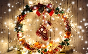 Picture decoration, lights, New Year, Christmas, Christmas, wreath, decoration, Merry