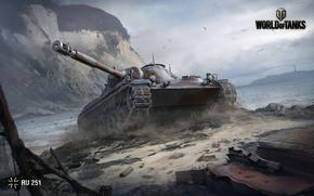 Picture Water, Mountains, WoT, World of Tanks, World Of Tanks, Wargaming Net, Light Tank, Dust, Ru …