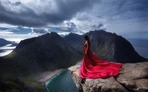 Picture girl, mountains, rocks, dress, in red, on the edge