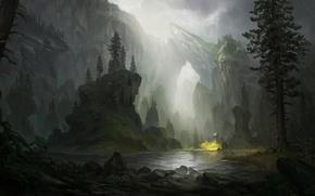 Picture river, rain, rocks, art, painted landscape