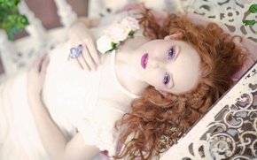 Picture look, makeup, curls, redhead, bokeh, Ivory Flame