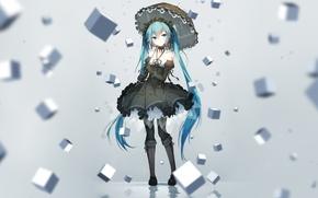Wallpaper girl, cubes, umbrella, anime, art, vocaloid, hatsune miku, bai yemeng