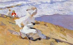 Wallpaper women, shore, picture, slope, Joaquin Sorolla, To Catch The Moment