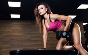 Picture female, workout, fitness, dumbbell, sportswear, triceps