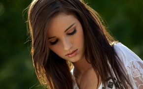 Wallpaper bokeh, brown hair, girl, Madison Morgan