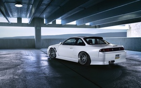 Picture car, Nissan, white, tuning, silvia, parking, S14