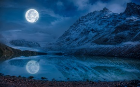 Picture the sky, water, clouds, snow, mountains, night, lake, reflection, stones, the moon