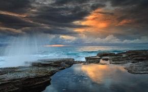 Picture wave, the sky, landscape, clouds, stones, dawn, shore