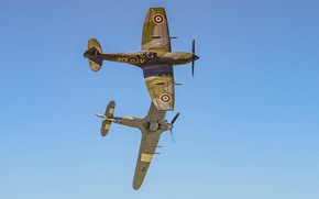 Picture fighter, plane, RAF, Royal Air Force, aeroplane, military aviation, Spitfire Hurricane