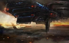 Picture fiction, transport, ship, art, cloudminedesign