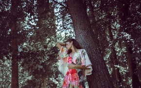 Picture forest, girl, face, tree, hair, dress, beauty, bright