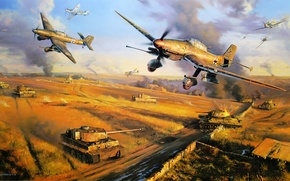 Picture ice, war, art, army, painting, cold, drawing, ww2, dogfight, german aircraft, russian fighter, tank, tiger ...