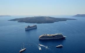 Picture sea, ships, Santorini, Caldera