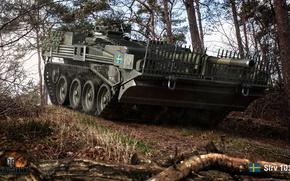 Wallpaper 's long 103B, forest, the bushes, trees, PT-ACS, Swedish, World of Tanks